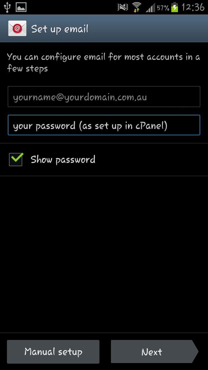 Phone How To Setup Email On An Android Phone how do i set up email on my android mobile phone knowledgebase enter your full address and password manual setup
